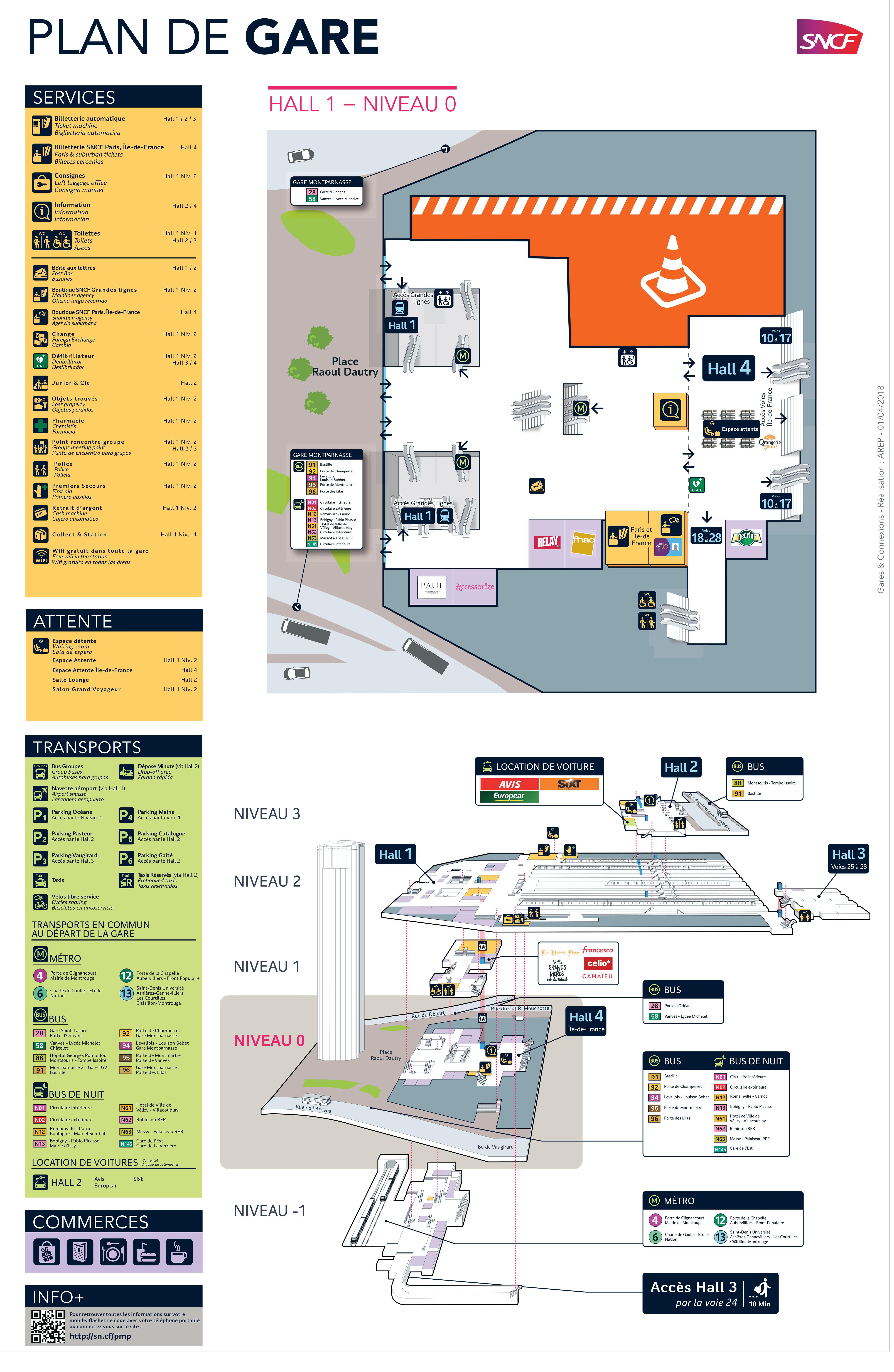 plan de la gare de montparnasse